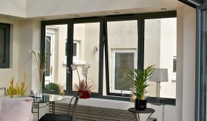 Black aluminium casement window interior view