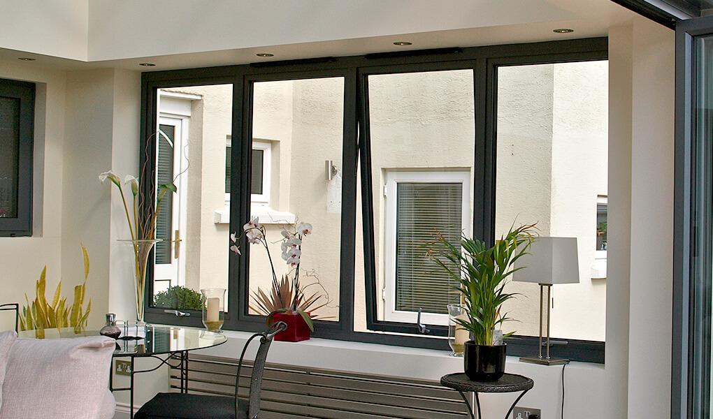 Black aluminium casement window interior view