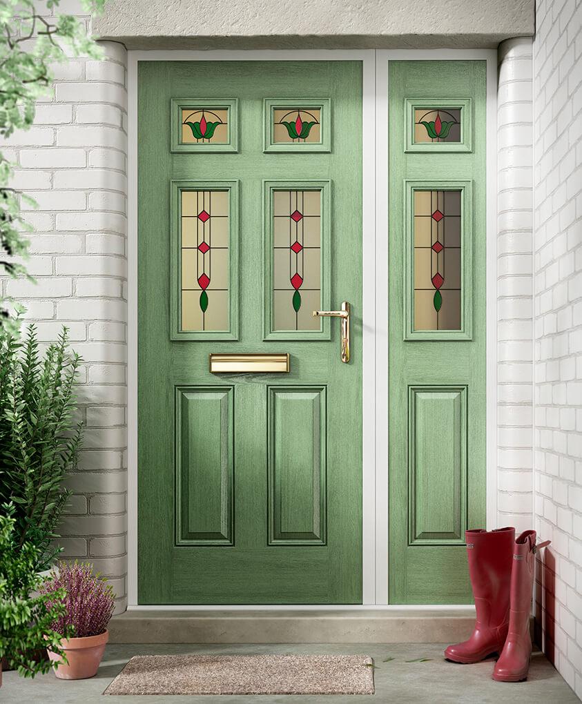Traditional chartwell green composite front door
