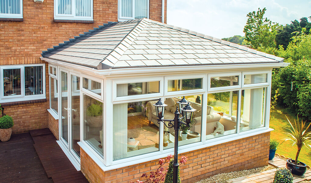 Edwardian conservatory with a Grey tiled Supalite roof