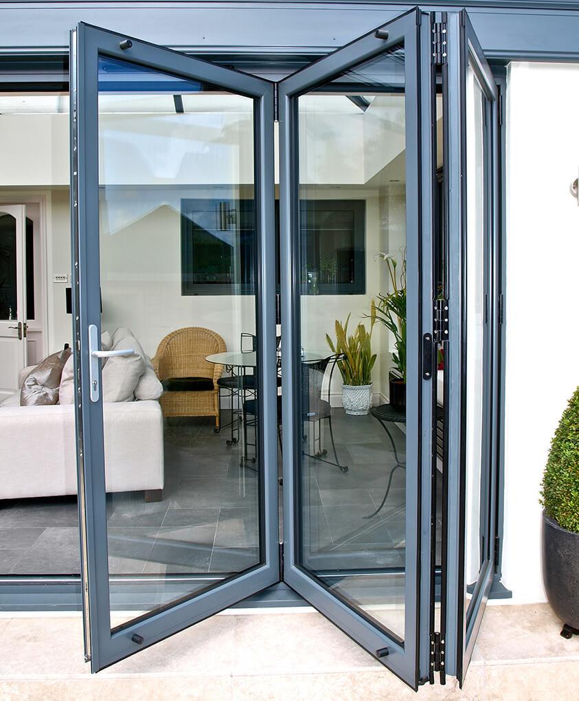 Grey aluminium bifold door leafs