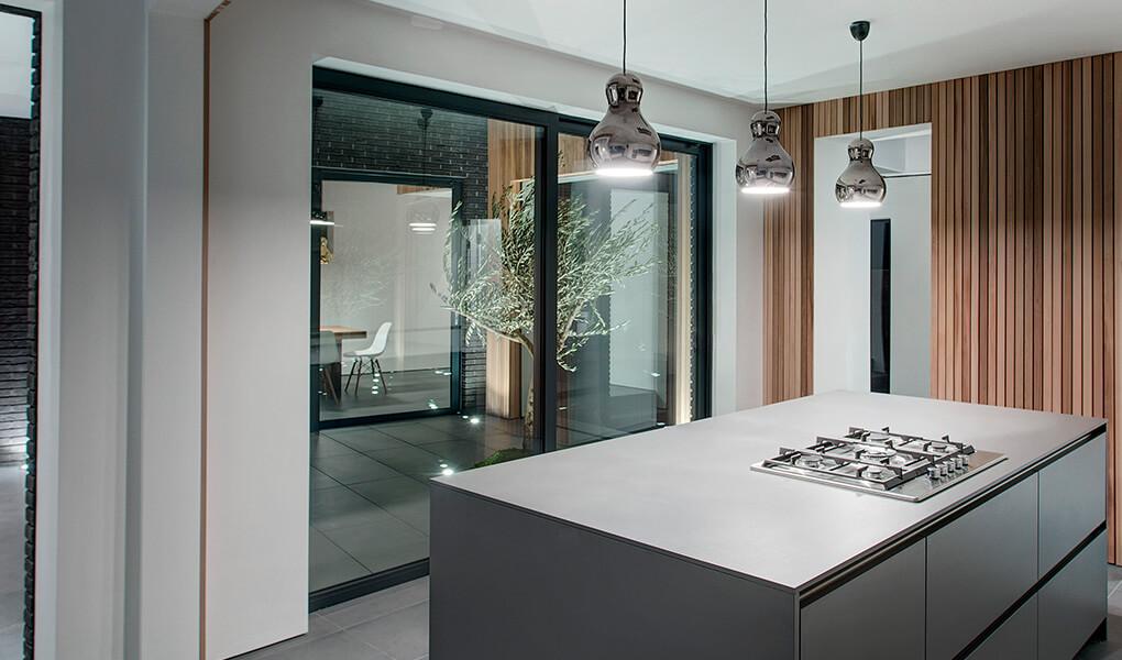 Interior view of a black aluminium patio door