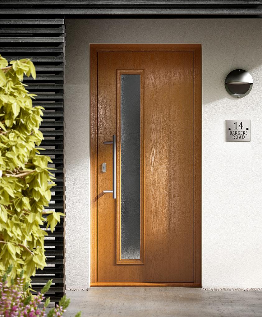 Oak effect contemporary composite entrance door