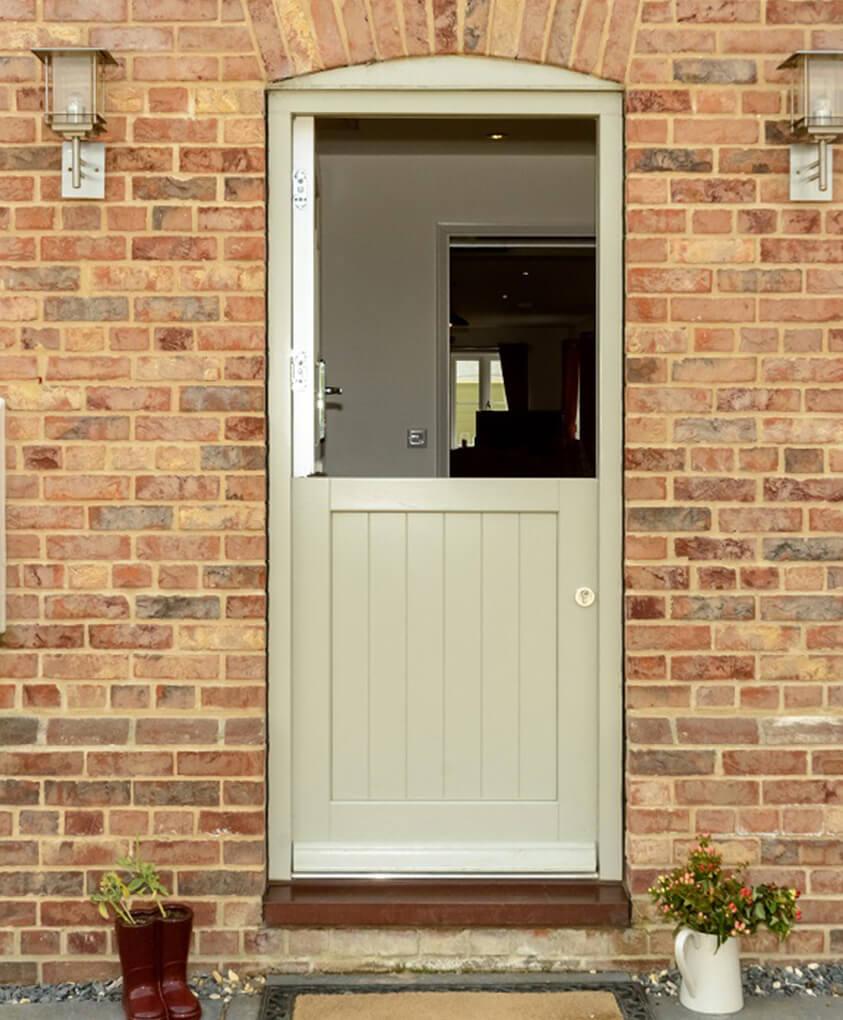 An open timber stable door