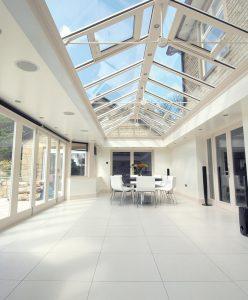Large white uPVC orangery interior