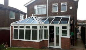 uPVC P-Shaped conservatory with a glass roof
