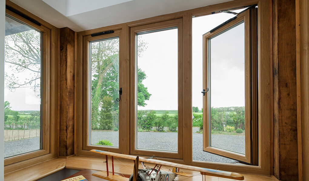 Oak effect Residence 9 flush sash window interior view
