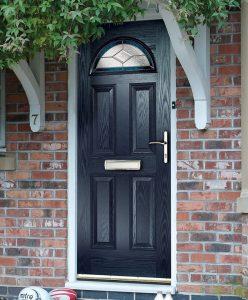 Traditional black composite front door