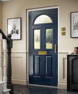 Traditional dark blue composite door interior view