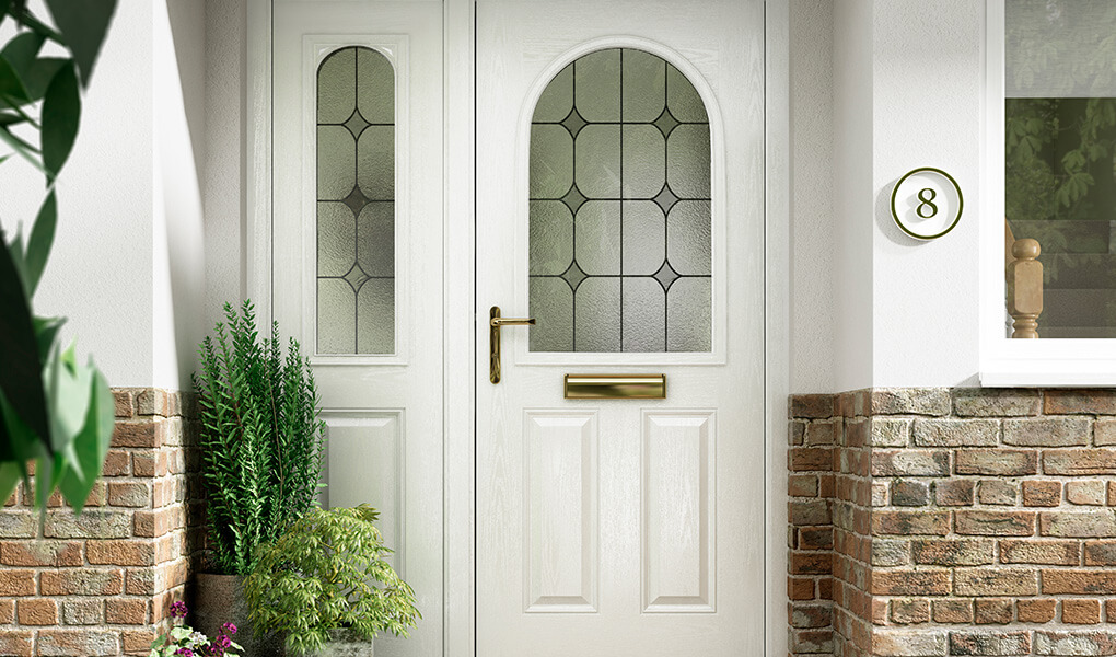 Traditional white composite front door