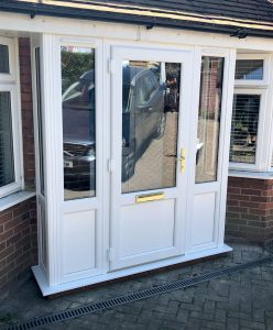 White uPVC entrance door and porch installation