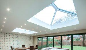 Dual white uPVC roof lanterns interior view