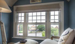 White uPVC vertical sliding window interior view