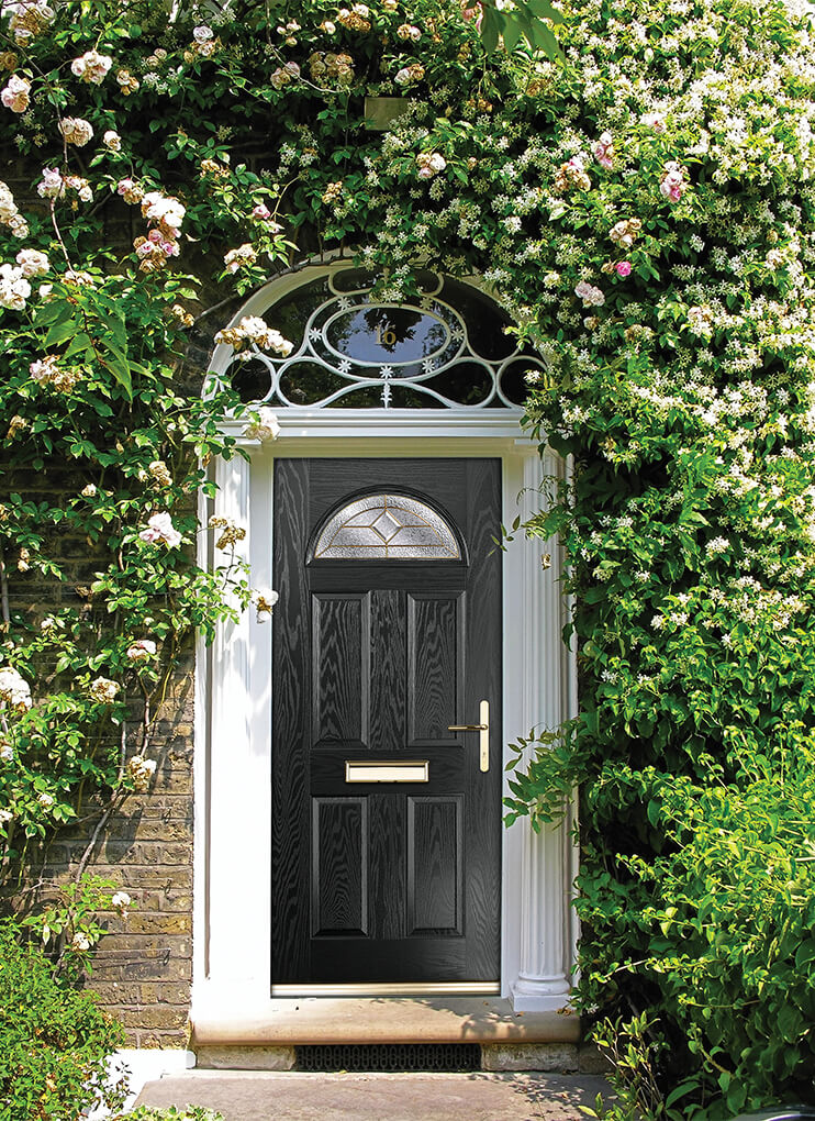 Modern grey composite entrance door