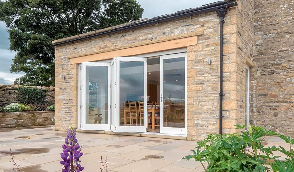 Open timber bifold door