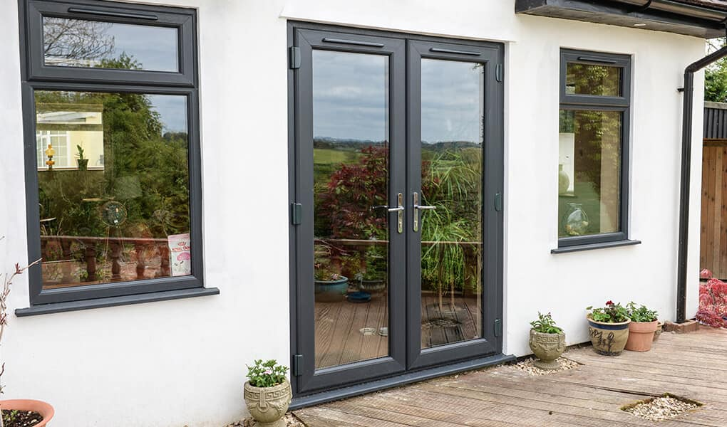 Anthracite grey uPVC french doors