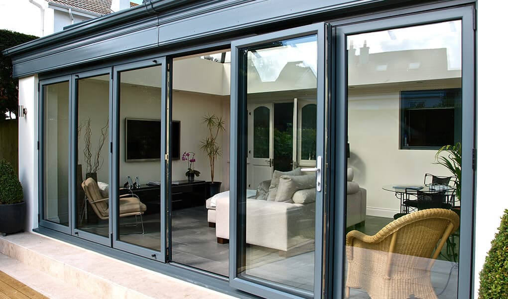 Wide grey aluminium bifold doors