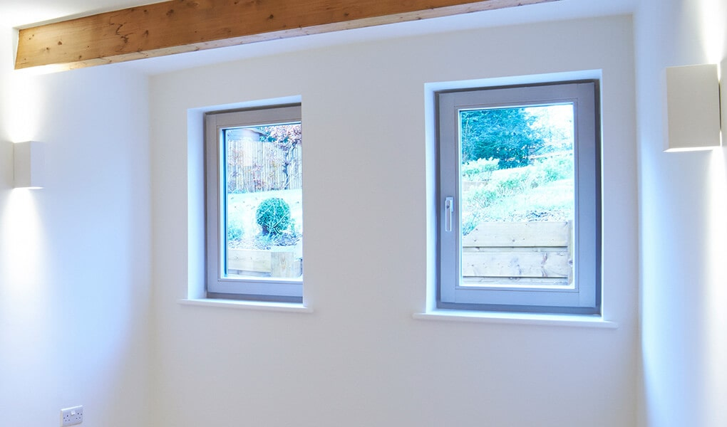 Grey aluminium tilt and turn windows interior view