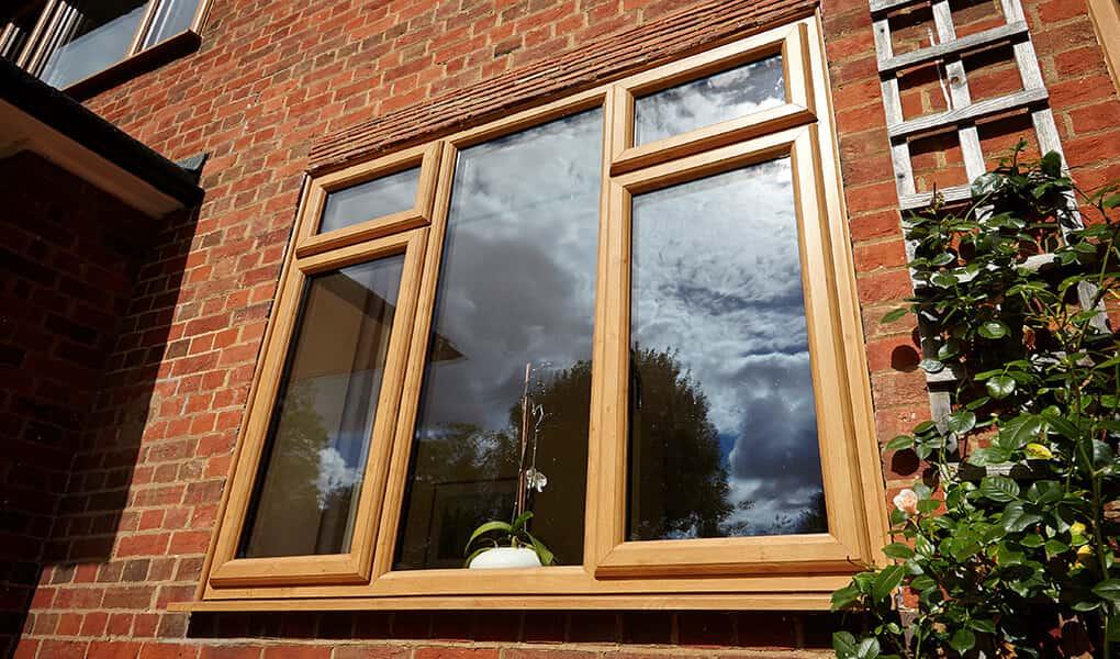 Irish oak effect uPVC casement window