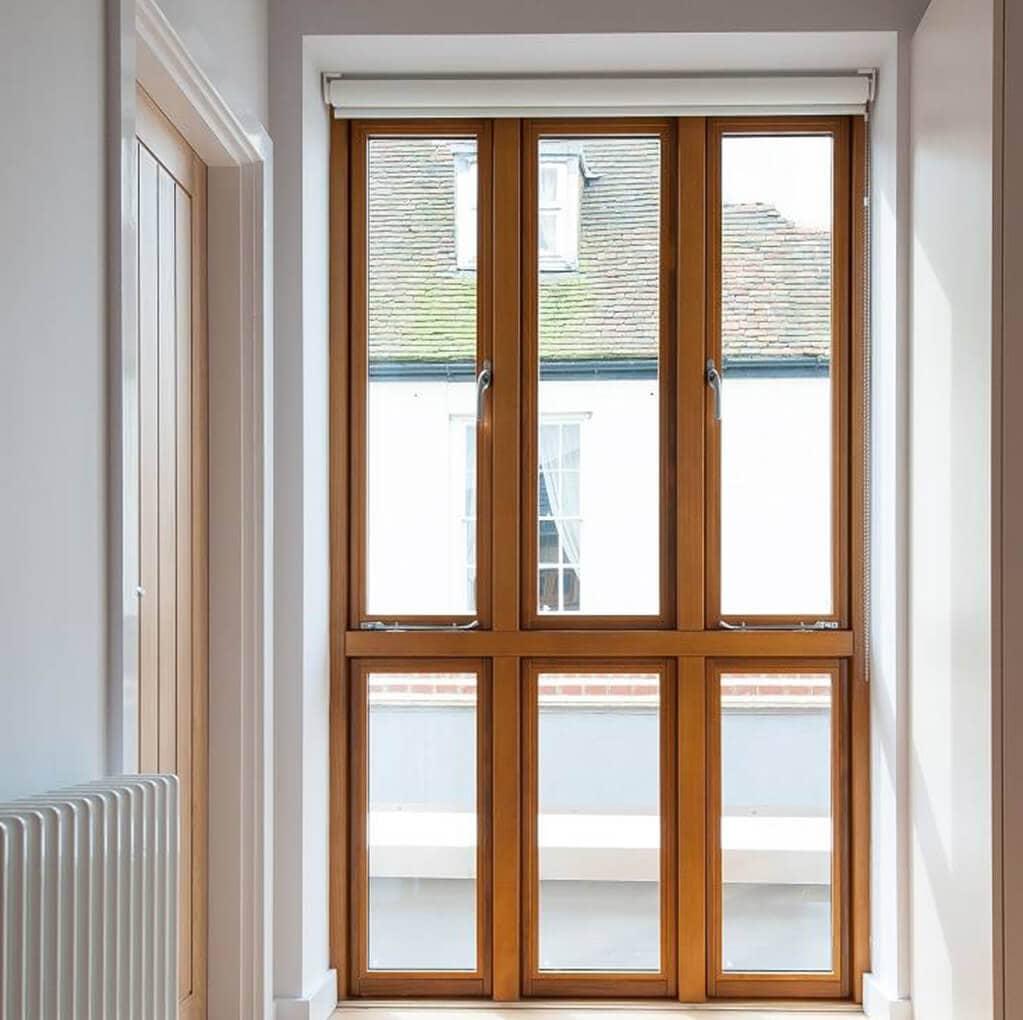 Tall oak timber tilt and turn windows