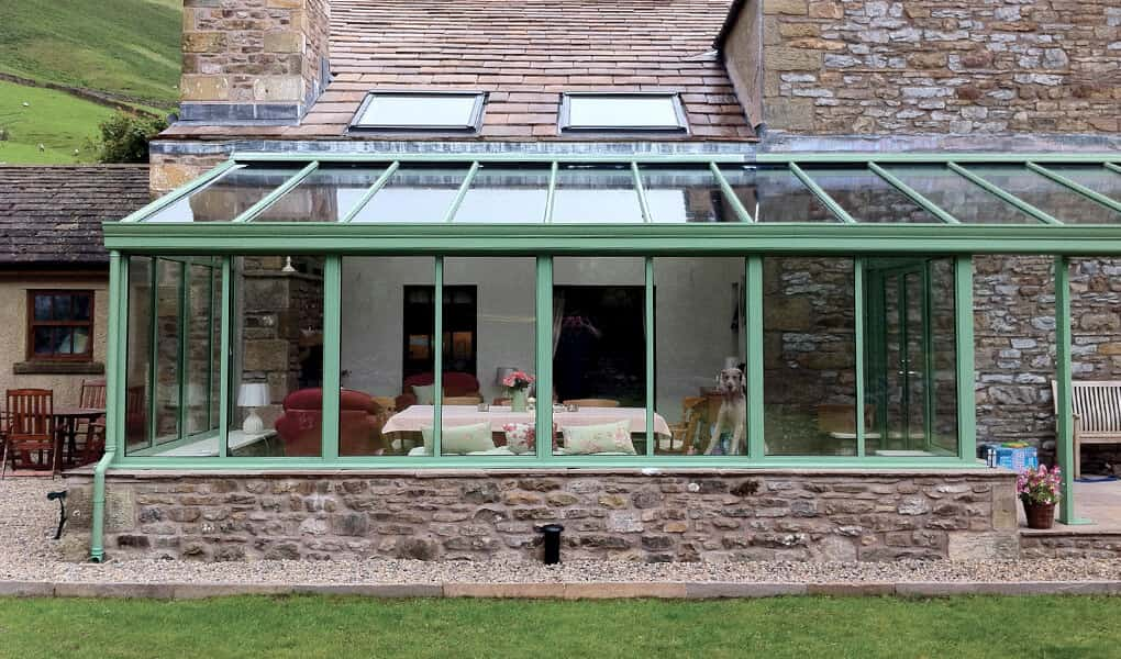 Sage green uPVC Lean-to conservatory