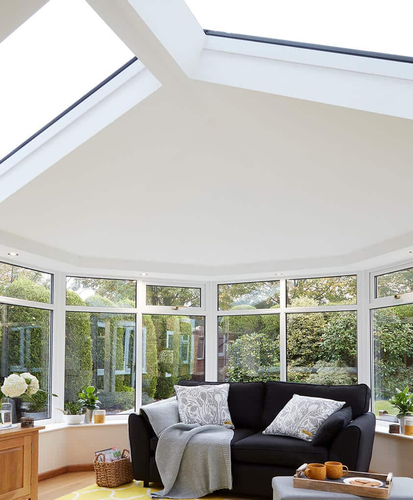 Interior view of a conservatory with a tiled Ultraroof