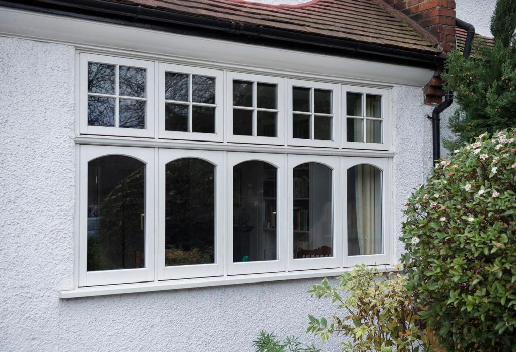 White timber casement windows