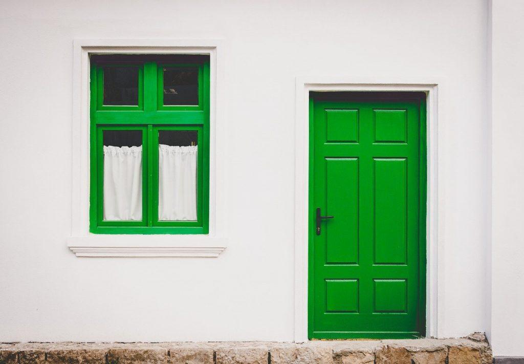 Green front door and window